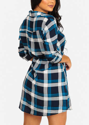 Image of Trendy Button Up Lightweight Blue Plaid Print Lightweight Mini Dress W Tie Belt