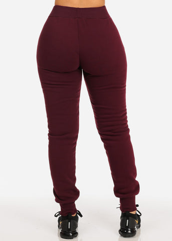 Image of High Waisted Burgundy Jogger Pants