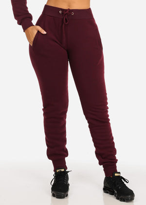 High Waisted Burgundy Jogger Pants