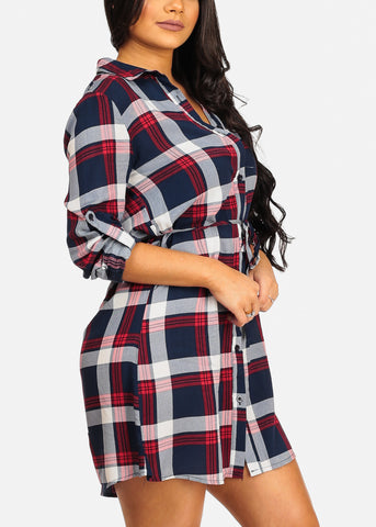Trendy Button Up Lightweight Red Plaid Print Lightweight Mini Dress W Tie Belt
