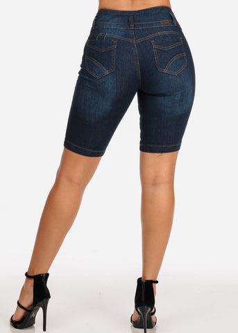 Women's Junior Ladies 3 Button Mid Rise Butt Lifting Levanta Cola Stretchy Solid Denim Bermuda Shorts