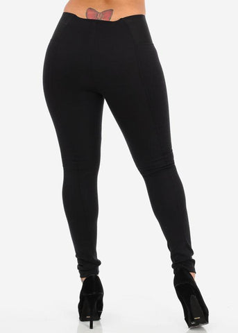 Black High Waist Banded Pants