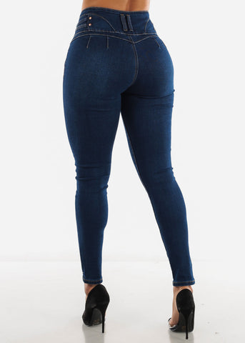 Image of Butt Lifting Dark Blue Jeans