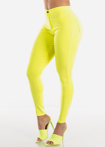 Image of Yellow High Rise Jegging Skinny Pants
