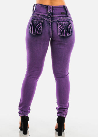 Image of Purple Butt Lifting Skinny Jeans