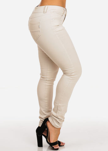 Beige Mid Rise Skinny Jeans