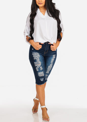 Image of High Rise Dark Wash 1 Button Distressed Capri Jeans