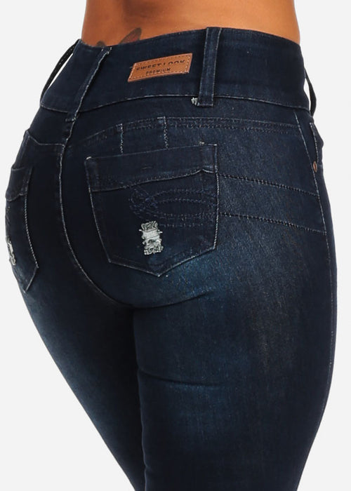 Dark Wash Butt Lifting Distressed Skinny Jeans