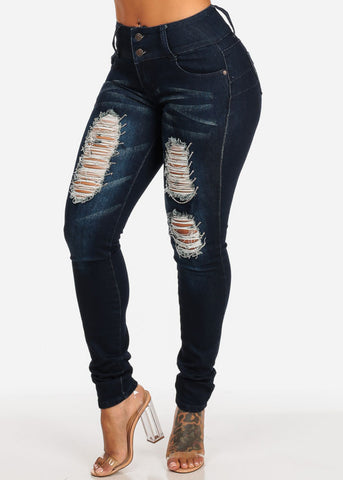 Image of Dark Wash Butt Lifting Distressed Skinny Jeans
