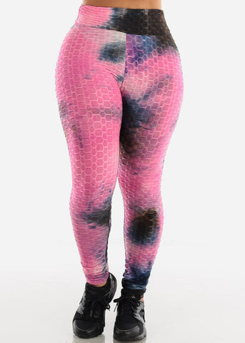 Image of Anti Cellulite Tie Dye Fuchsia Hoodie & Leggings  (2 PCE SET)