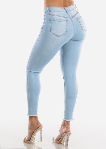 Light Wash High Waisted Torn Skinny Jeans