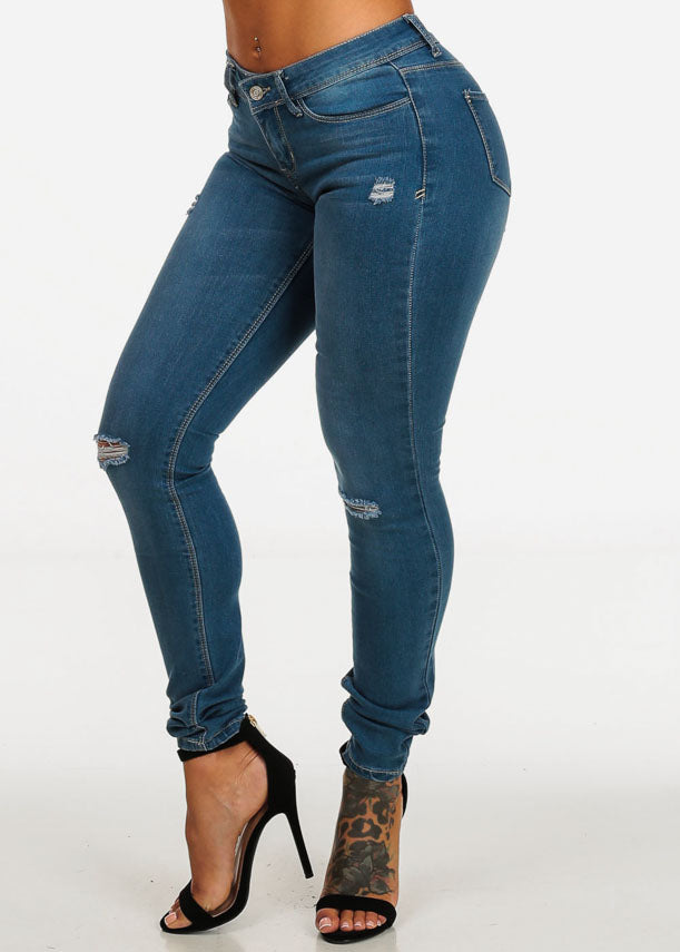 Low Waist Ripped Light Wash Denim Jeans