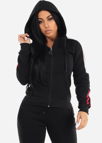 Black Zip Up Hoodie & Jogger Pants (2 PCE SET)
