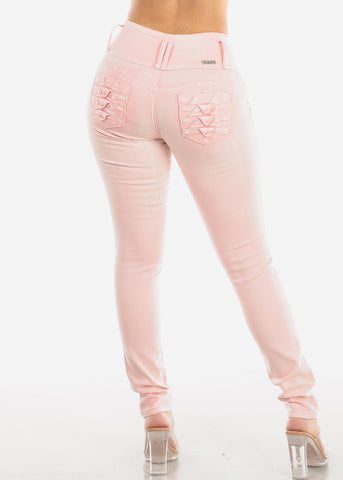 Image of Butt Lifting Light Pink Skinny Jeans