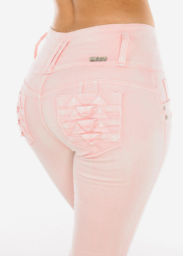 Butt Lifting Light Pink Skinny Jeans