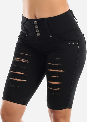Black Butt Lifting Torn Denim Bermuda Shorts