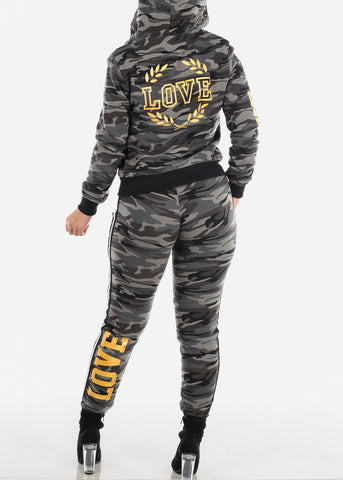 Grey Camo Sweater & Jogger Pants (2 PCE SET)