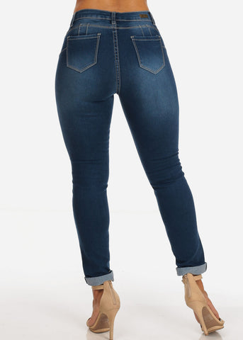 One Button Levanta Cola Distressed Med Wash Ankle Skinny Jeans