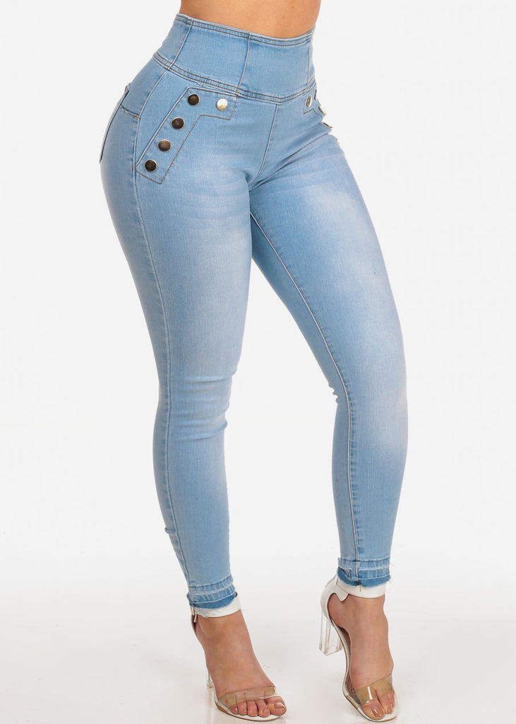 Women's Junior Stylish High Waisted Above The Waist Back Zipper Front Gold Button Detail Sexy Light Wash Raw Hem Denim Skinny Jeans