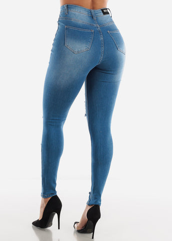 Distressed Ultra High Waisted Skinny Jeans