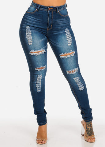 Image of High Rise Distressed Med Skinny Jeans