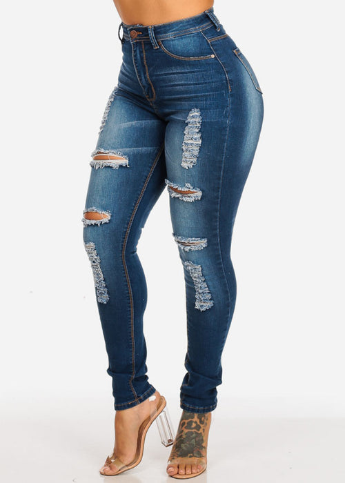 High Rise Distressed Med Skinny Jeans