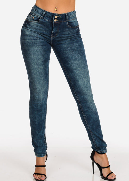 Women's Junior Ladies 2 Button Mid Rise Dark Marble Wash Skinny Jeans With Brown Stitching