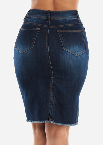 Torn Dark Wash Denim Skirt