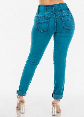 Image of Teal Butt Lifting Skinny Jeans
