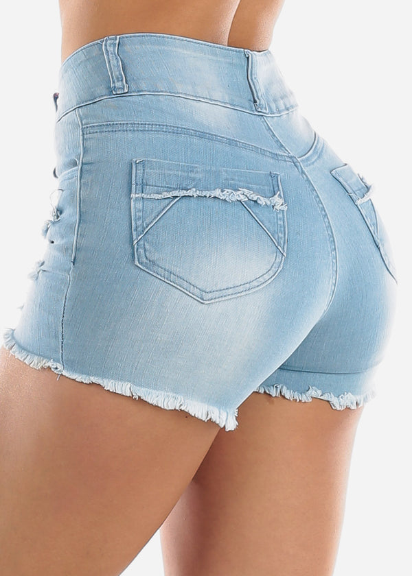 High Rise Light Wash Torn Denim Shorts