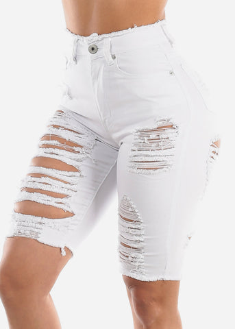 Double Sided Distressed White Bermuda Shorts