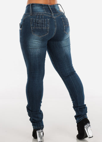 Image of Mid Rise Butt Lifting Dark Wash Skinny Jeans