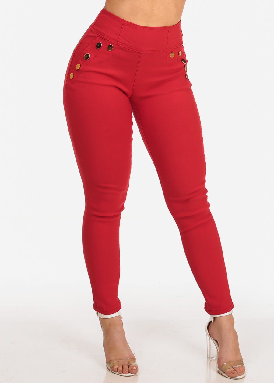 Women's Junior Stylish High Waisted Above The Waist Back Zipper Front Gold Button Detail Red Jegging Skinny Jeans