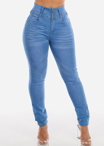 Butt Lifting High Rise Light Wash Skinny Jeans