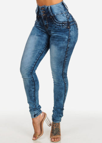 Image of Butt Lift High Waist Acid Wash Skinny Jeans