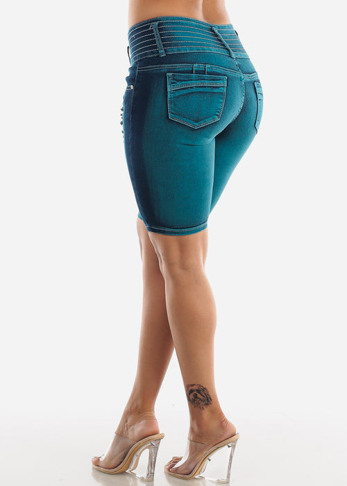 Teal Butt Lifting Torn Denim Bermuda Shorts
