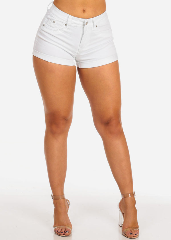 Women's Junior Must Have Summer Beach Vacation Booty Butt Lifting Sexy Stylish White Shorts