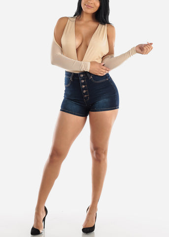 Image of Dark Wash Button Up Denim Shorts