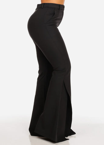 Image of High Waisted Wide Slit Legged Black Pants