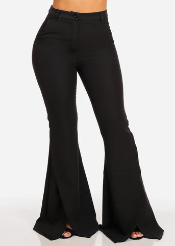 High Waisted Wide Slit Legged Black Pants