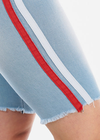Image of High Waisted Side Stripe Light Wash 1 Button Raw Hem Denim Jean Bermuda Shorts For Women Ladies Junior