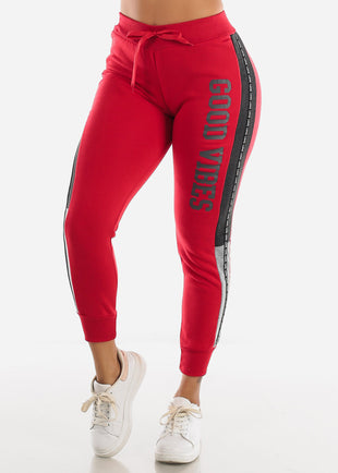 "Red Jogger Sweatpants ""Good Vibes"""