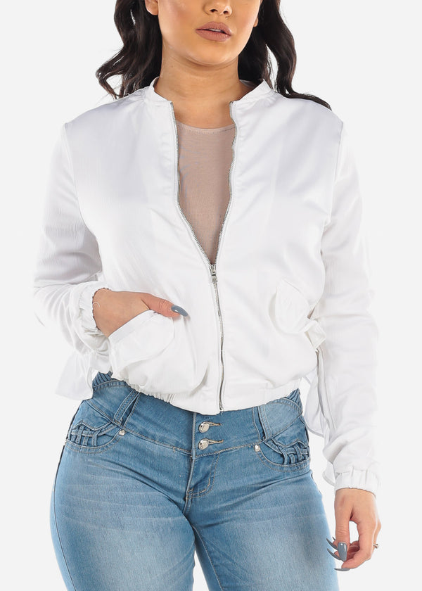 Solid White Zip Up Jacket With Ruffles For Women Ladies Junior 2019 New
