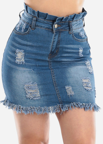 1 Button High Waisted Fringe Raw Hem Med Wash Ripped Distressed Denim Jean Skirt