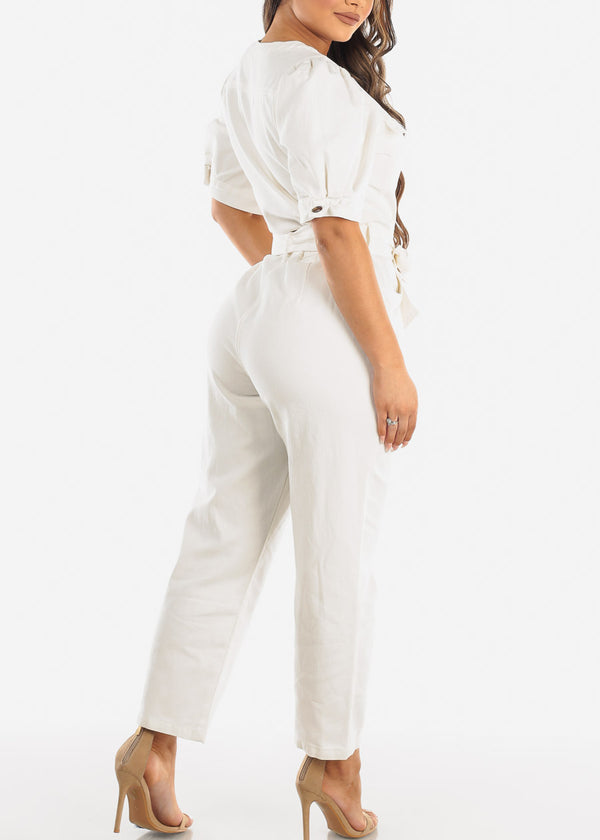 Belted White Cotton Jumpsuit