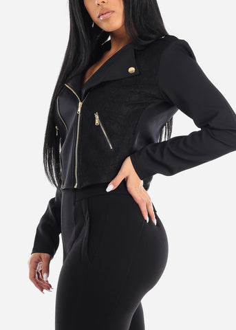 Black Lace Front Moto Jacket