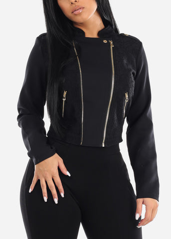 Image of Black Lace Front Moto Jacket