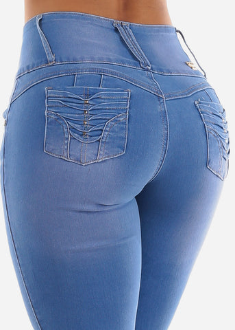 Image of Med Light Blue Wash Wide Waist Band Jeans