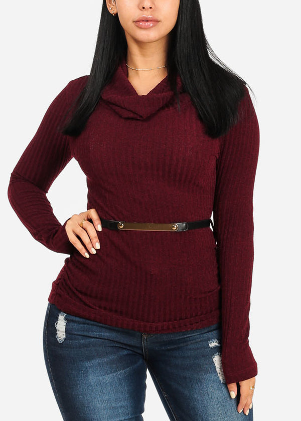 Stylish Burgundy Ribbed Top W Belt