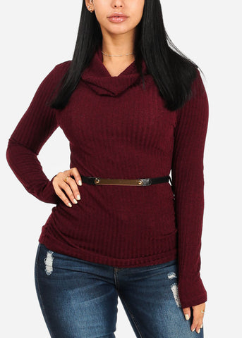 Image of Stylish Burgundy Ribbed Top W Belt